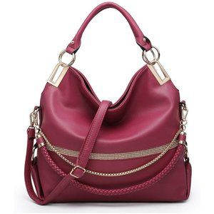 Hobo Bag~Women Soft Faux Leather Purse with Rhinestones, 0wine